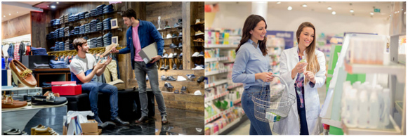 two images of shoppers in different retail environments